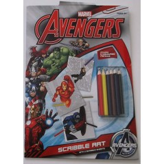 Marvel Avengers Scribble Art CHILDREN/KIDS~Coloured Pencils/Scribble Sheets