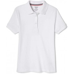 French Toast Girls' Short Sleeve Interlock white Polo with Picot Collar
