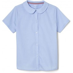 French Toast Girls' Blue Poplin Blouse Short Sleeve