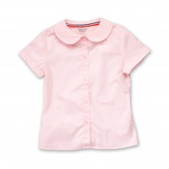 French Toast Girls' Pink Poplin Blouse Short Sleeve