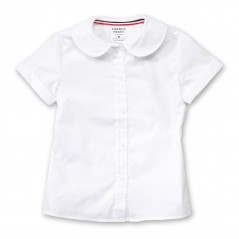 French Toast Girls' White Poplin Blouse Short Sleeve