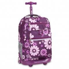 J World Sundance Rolling Backpack Purple Flower
